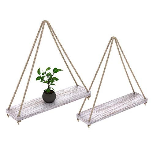 Comfify Set of 2 Floating Shelves with String - Rustic White