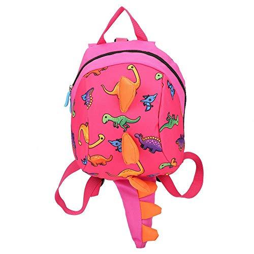 Dinosaurier Rucksack Kinder Kinder Kleinkind Tasche Cartoon Rucksack Snack Lunchpaket Reiserucksack mit Sicherheitsgurt Leine für Vorschuljungen Mädchen(Pink)