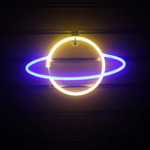 Adoture Planet Neon Light LED Neon Wandleuchte Batterie- oder USB-betriebenes Neon-Lichtschild LED Neon-Lichter Wolkenlampe Licht für Zuhause, Kinderzimmer, Bar(gelb + blau)