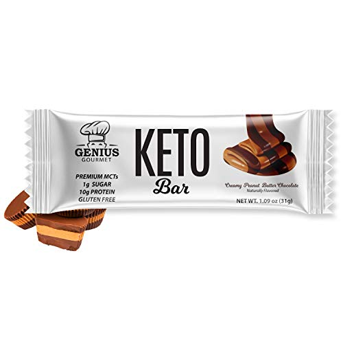 Genius Gourmet Gluten Free Keto Protein Bar, All Natural Chocolate Keto Bars, Premium MCTs, Low Carb, Low Sugar (Chocolate Peanut Butter, 12 Count (Pack of 1))