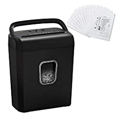 Product 1: Crosscut paper shredder with 8 sheets of shredding capacity (letter size, 20lb), shreds paper into tiny pieces measuring 13/64 x 45/64(5x18mm) and reaches P-4 high-security level Product 1: This shredder Destroys paper, clips, staples, and...