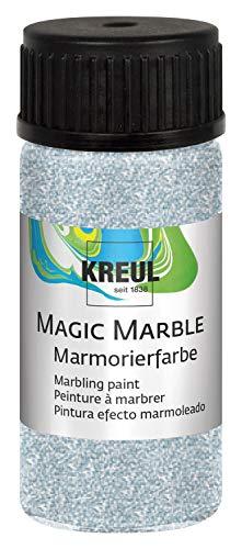 KREUL 73223 Magic Marble Marmorierfarbe, Glitzer, 20 ml, silber
