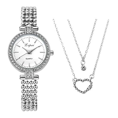 Necklace Watches Combination Ladies Accessories, Polished with Sequins, Alloy Material, Easy to Match, for Valentine's Day Present
