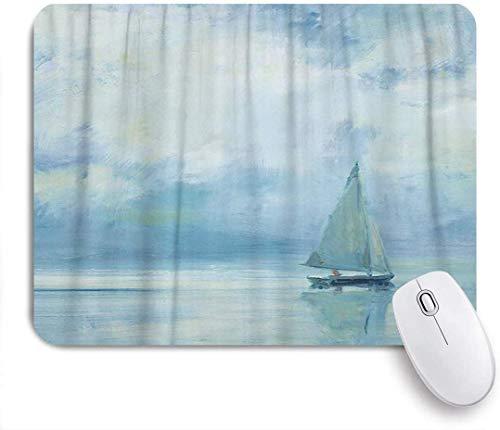 Geevosun alfombrilla de ratón azul náutica pintada al óleo barco de viaje en olas del mar alfombrilla de ratón artística personalizada base de goma antideslizante para ordenadores portátiles accesorio