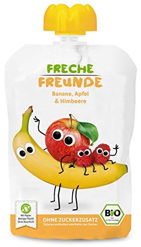 Freche Freunde Bio Quetschie Banane, Apfel & Himbeer, Fruchtmus im Quetschbeutel für Babys ab 6 Monaten, glutenfrei, 6er Pack (6 x 100 g)