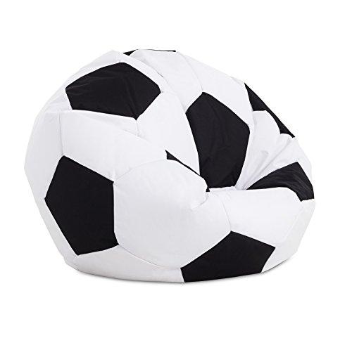 Textilhome - Balón PUF de Futbol Pelota de Puff, 90cm Diametro. Divertido, Resistente, Doble repunte.