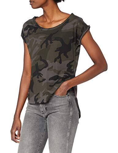 Urban Classics Damen Ladies Back Shaped Tee T-Shirt, Dark Camo, Medium