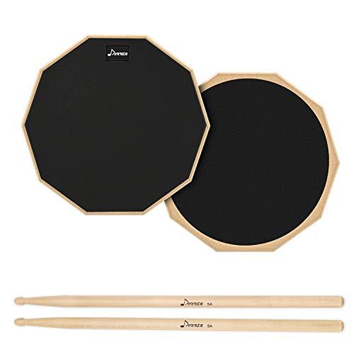 Donner Drum Practice Pad Übungspad 8 Zoll/30.48cm mit Drumsticks, Negro
