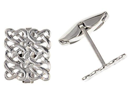 Irisch keltische Infinity Knoten Stil Rechteck Manschettenknöpfe 925Sterling Silber–Lieferung erfolgt in Geschenkbox oder Geschenkbeutel