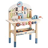 Tool Bench for Kids Toy Play Workbench Wooden Tool Bench Workshop Workbench with Tools Set Wooden Construction Bench Toy for 3 4 5 Year Old Boys Girls