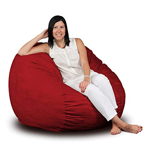 FUGU Bean Bag Chair, Premium Foam Filled 3 XL, Protective Liner Plus Removable Machine Wash Red Cover