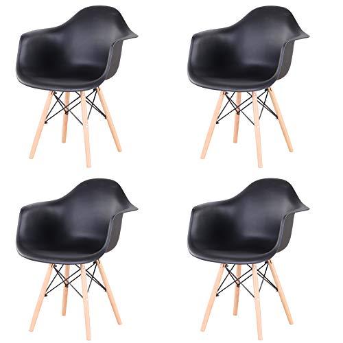 4er Set Esszimmerstühle Armlehne Retro Stuhl Holzbeinen Stuhl im nordischen Stil (Schwarz)