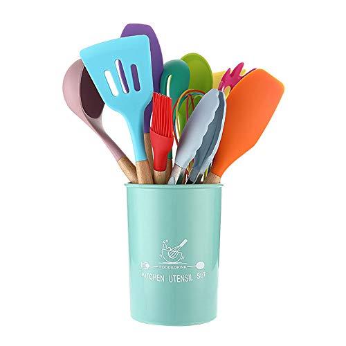 Haihuic - Juego de 11 utensilios de cocina de silicona con mango de madera, cuchara antiadherente resistente al calor, pinzas, cuchara, batidor, espátula
