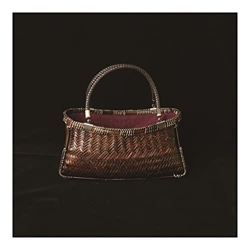 GOUDAN Retro Bambus-Gewebe-Tasche,Damen-Messenger-Handtasche-Tee-Set,Lagerkorb Handgewebt Teebeutel,for Partei,Einkaufen,Camping,Dating oder genauso wie eine tägliche Tasche.