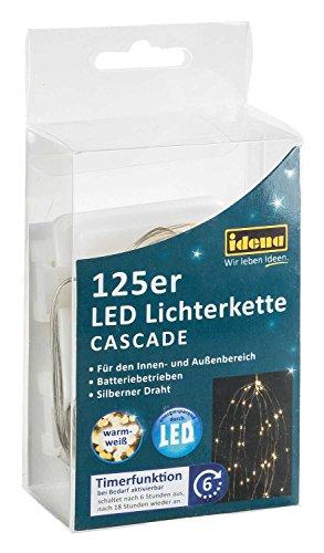 Idena 31352 - LED Lichterkette Cascade mit 125 LED in warm weiß, mit 6 Stunden Timer Funktion, Batterie betrieben, für Partys, Weihnachten, Deko, Hochzeit, als Stimmungslicht, ca. 1,7 m