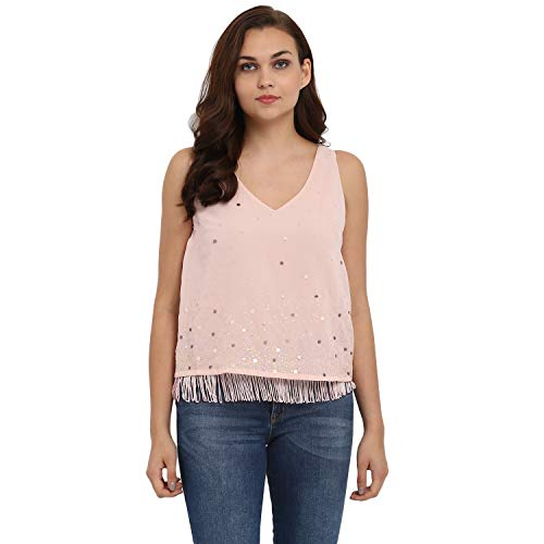 ATHAH Polyester Baby Pink Sequins Top for Women