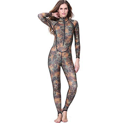 GYFY Camouflage Taucheranzug Frauen siamesischen Sonnenschutz Anzug vor Reißverschluss mit Brustpolster Winter-Badeanzug Badeanzug,L