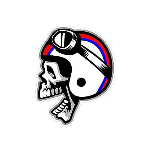 WBXZY Pegatinas de Coche 10,5 CM * 13 CM Motocicleta Cafe Racer cráneo Casco Coche Pegatina Reflectante PVC 6-0132