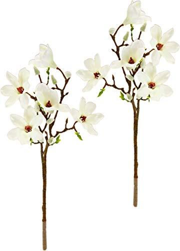 Künstlicher Magnolienzweig Kunstblume Magnolie Bündel Kunstpflanze Zweig Raumdeko Zarte Frühlingsdeko Dekozweig Ast Einzelblume Knospen Blüten Hochzeit Bouquet Decor Seidenblumen Kunstblume Kunstzweig