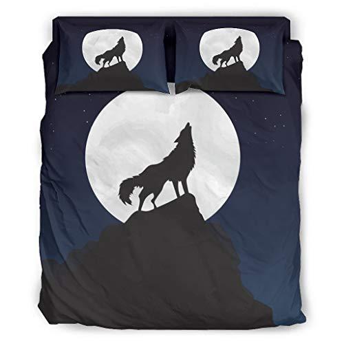 Haythan Juego de 4 fundas de edredón y fundas de almohada, diseño de lobo, color blanco, 175 x 218 cm