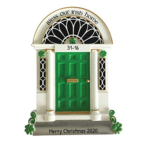 Personalized New Irish Door Christmas Tree Ornament 2020 - Bless Our Home Green Shamrock Gift St. Patrick's Luck Blessing Celtic Elegant Family Host Year Winter Front House-Mate - Free Customization