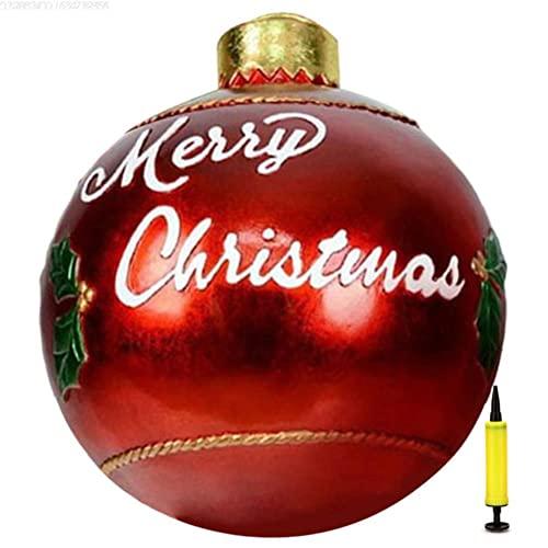 Funmix Palla Gonfiabile di Natale Decorata con Pompa, Palla Gonfiabile Gigante di Natale all'aperto, Palle gonfiabili dell'albero di Natale, Decorazioni da Giardino Buon Natale