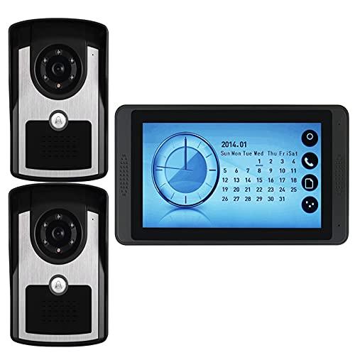 Timbre De Video, Intercomunicador, Sistema De Entrada De Puerta, Teléfono Con Videoportero Con Monitor De Pantalla Táctil De 7 Pulgadas Con Cable, 2 Cámaras De Visión Nocturna Para Exteriores