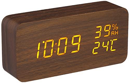 【1年保証有】 アイリスオーヤマ 置き時計 デジタル 目覚まし時計 めざまし時計 置時計 時計 木製 おしゃれ 多機能 ブラウン ICW-01WH-T