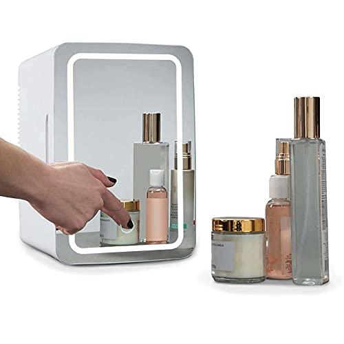 Nevera pequeña Maquillaje,Espejo LED Diseño combinado, El Coche De Refrigerador, Mini Refrigerador del Refrigerador/For Cosméticos para Maquillaje Y Cuidado La Piel, Casa Bar 8 litros