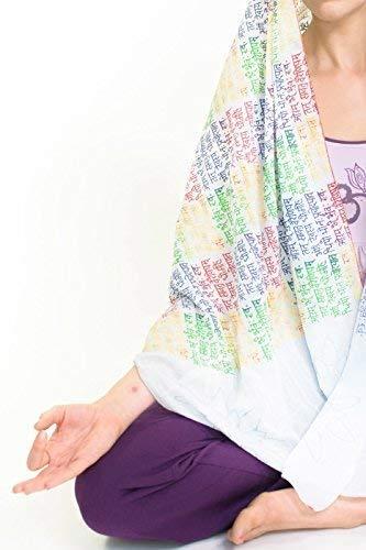 Yogamasti Bufanda de yoga, envoltura, meditación, mantra gayatri (blanco suave)