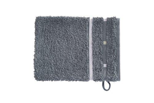 Vossen Quadrati Uni Waschhandschuhe 3er Set Größe: 22 x 16 cm Farbe: 053 / dunkelgrau/weiß
