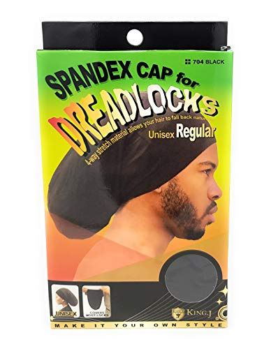 King.J Regular Size Unisex Spandex Cap For Dreadlocks, Black, 1 Count