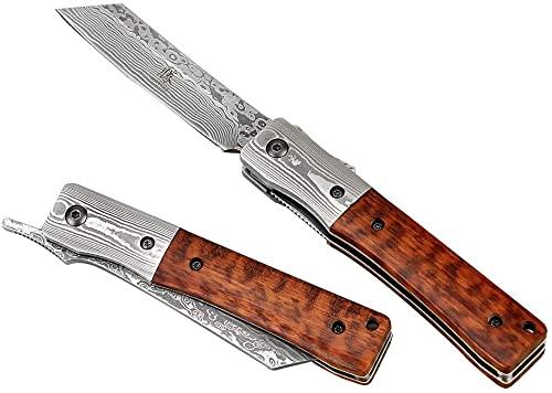 KATSU Couteau de Damas de Poche Pliant Japonais en Acier Damas Fait Main avec Manche en Bois de Serpent et Mitre en Acier Damas