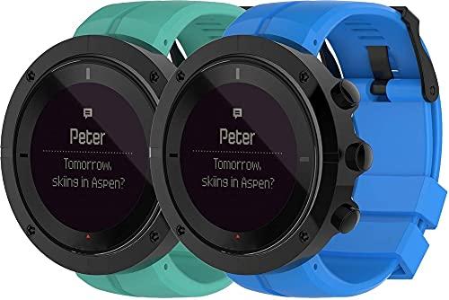 Classicase Compatible con Suunto Kailash Correa de Reloj, Banda de Reemplazo Silicona Suave Sports Pulsera (Pattern 2+Pattern 6)