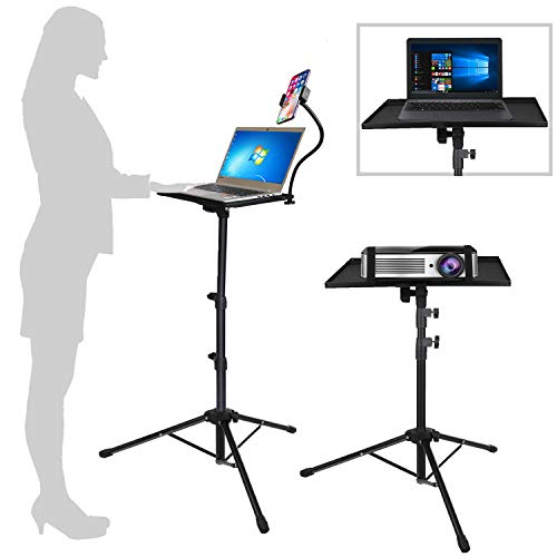 Projector Laptop Tripod Stand - Computer, Tablet, DJ Equipment Holder Mount with Gooseneck Phone Holder Height Adjustable Up to 42 Inches w/ 15'' x 11'' Plate Size - Perfect for Stage or Studio Use