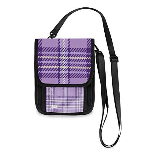 Roomy Pockets Series Purple Lavender Tartan Travel Small Crossbody Bag Oxford Cloth Cell Phone Purse Wallet For Women(805v)