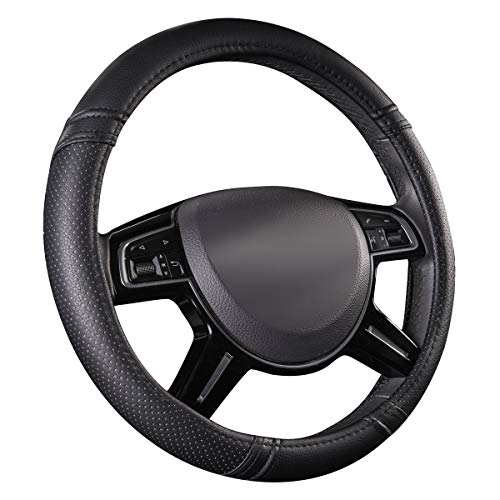 CAR PASS Classical Leather Automotive Universal Steering Wheel Covers,Universal Fit for Suvs,Trucks,Sedans,Cars,Vans(Black)