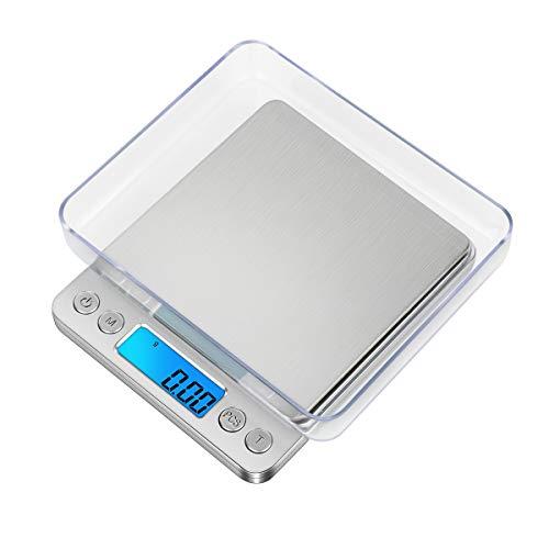 GPISEN Báscula Digitales de Precisión,Balanzas de Portátiles, Plato Removibles,con Pantalla LCD y 6 Unidades,Plataforma de Acero Inoxidable, Función de Tara, para Cocinar,Joyería,Café - 3kg x 0.1g