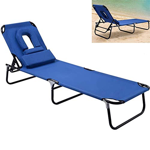 ZDYLM-Y Outdoor Chaise Lounge Chair, 4 Adjustable Reclining Positions Reclining Lounge Chair with Hole, for Beach Yard Pool