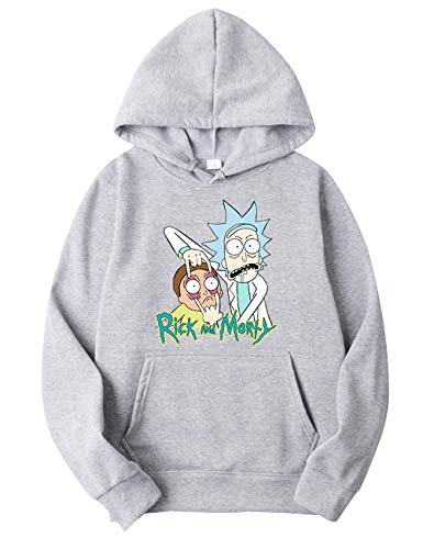 Pull Rick et Morty Homme, Sweat-Shirt Rick et Morty Femme Enfants Fille Garçon Automne Sweat à Capuche Pas Cher Mode Sweat avec Capuche Printemps Sport Base-Ball Sweat Shirt (Gris-2,L)