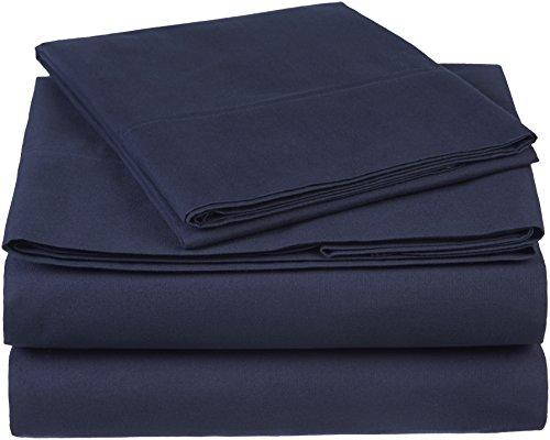 Amazon Brand – Pinzon 300 Thread Count Organic Cotton Bed Sheet Set - Twin XL, Navy Blue