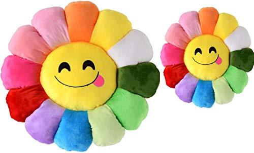 Juego de cojines de suelo de girasol de 27,9 y 45,7 cm, con forma de flor sonriente, para sofá, sillas, almohadas, decoración del hogar, dormitorio, tienda, restaurante (11 y 18 pulgadas)