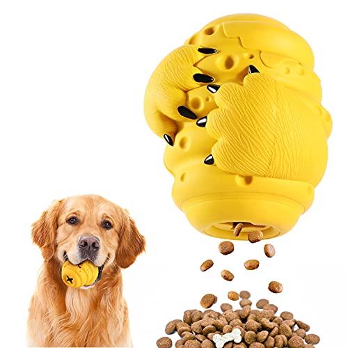 MYPIN Interaktives Hundefutter Ball, Hundeball mit Zahnpflege-Funktion, Hundespielzeug Ball, Treat Ball Dog, Hundespielball für Große & Kleine Hunde, Kauspielzeug aus Naturgummi für Leckerli
