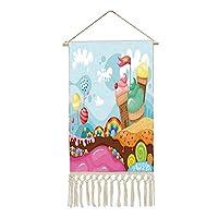 掛ける絵 可愛い グッズ 軸物 壁掛け アイスクリームの装飾 レインボーキャンディーロリポップの木のデザートランドカップケーキ山漫画装飾 多機能 個性 壁アート 装飾画 人気 おしゃれ 多色