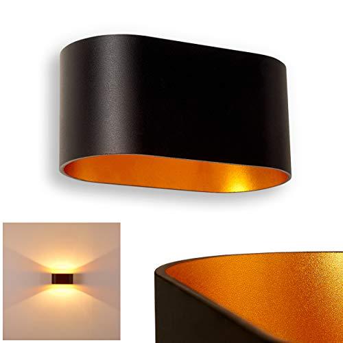 Wandlampe Dapp aus Metall in Schwarz/Gold, moderne Wandleuchte mit Lichteffekt, 1 x G9-Fassung, max. 40 Watt, Innenwandleuchte mit Up & Down-Effekt, geeignet für LED Leuchtmittel