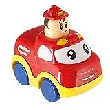 Bieco Drück & Los Flitzer Feuerwehr   Spielzeug Auto mit Aufzieh Mechanismus durch Kopf Herunterdrücken   Rückzug Spielzeugautos ab 6 Monaten   Baby und Kleinkind   Auto Baby 1 Jahr   Aufziehbares