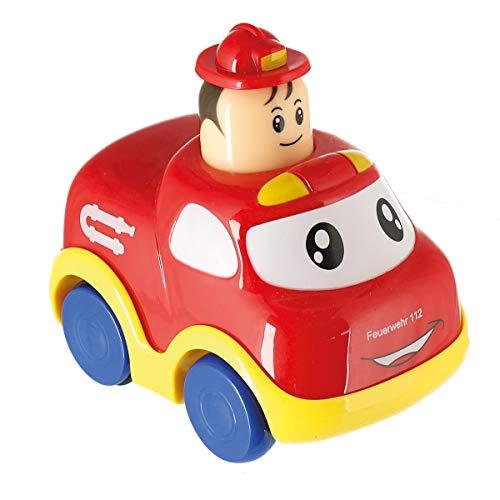 Bieco Drück & Los Flitzer Feuerwehr | Spielzeug Auto mit Aufzieh Mechanismus durch Kopf Herunterdrücken | Rückzug Spielzeugautos ab 6 Monaten | Baby und Kleinkind | Auto Baby 1 Jahr | Aufziehbares