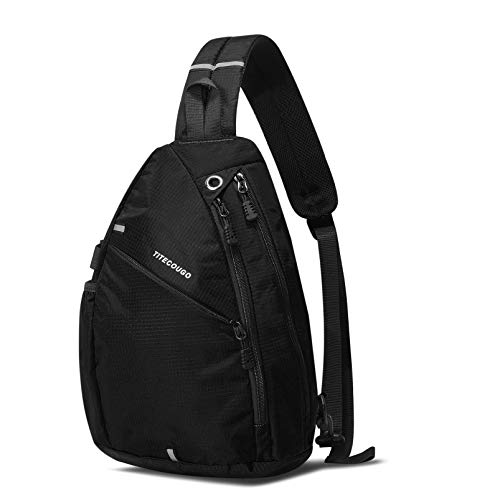 TITECOUGO Sling Backpack Travel Shoulder Bag One Strap Crossbody Bags Lightweight Chest Daypack Camp Day Packs for Women and Men Hiking Accessories Large Black