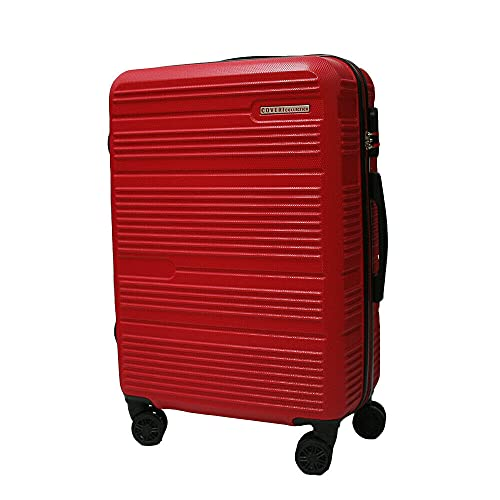 Set trolley abs rigido 3 pz valigie viaggio bagaglio a mano 8 ruote 80100 Rosso Cm 70/60/50 Grande/Media/Piccola
