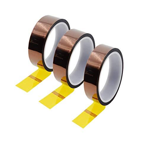 Uotyle 3 Rollen Hitzebeständiges Tape Hochtemperatur Isolierband polyimid Elektronik Klebeband 3D Drucker Isolierband(30mm x 33m,Tawny)